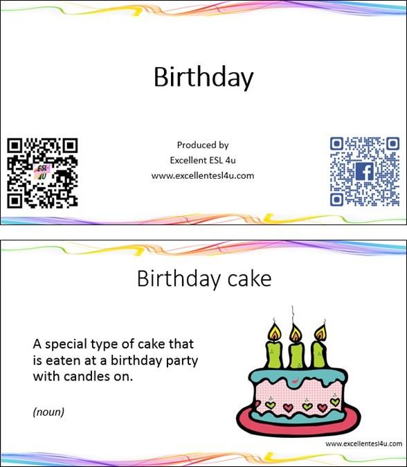 esl birthday vocabulary