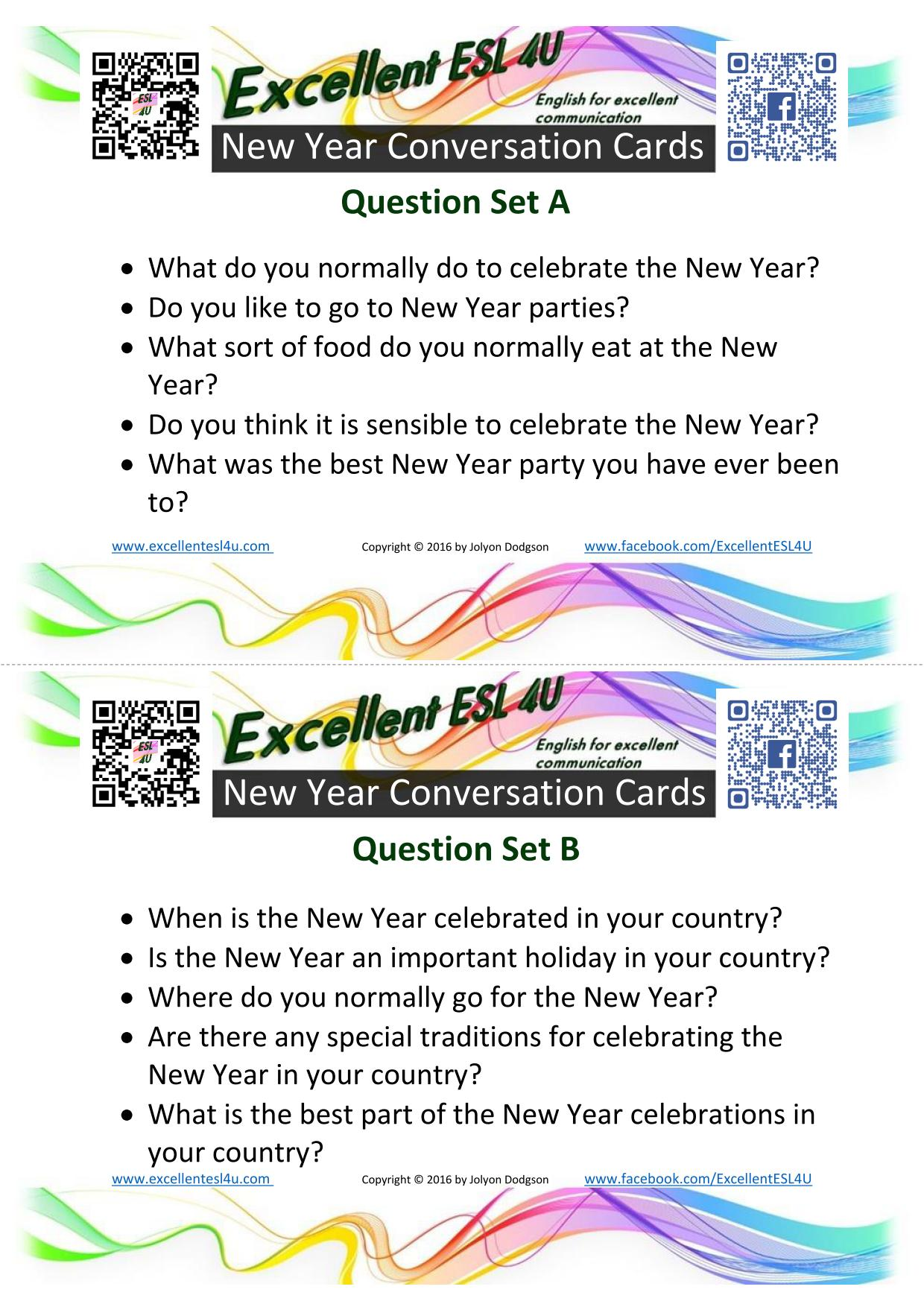 Esl new year conversation kristyandbryce Gallery