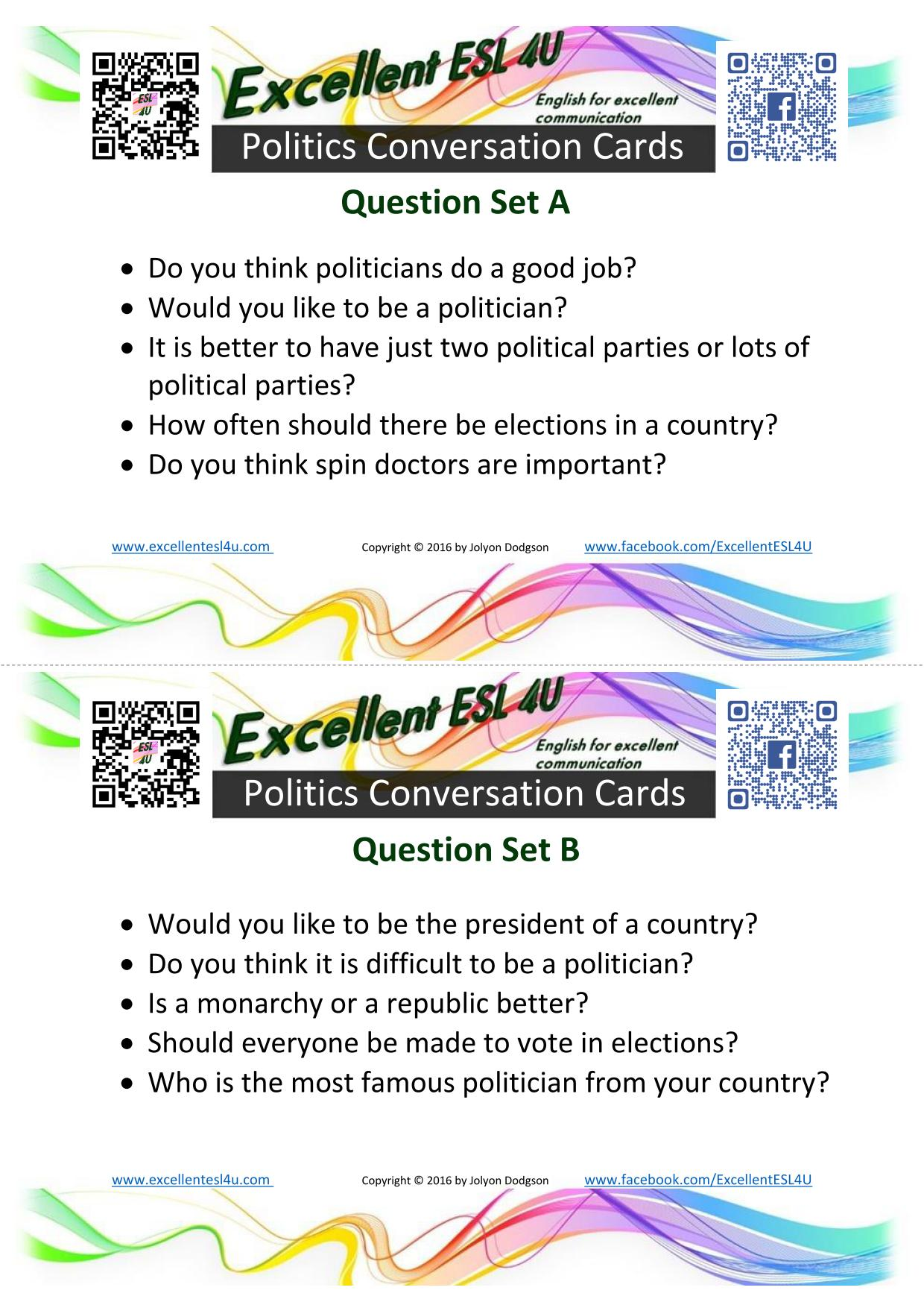 worksheet Political Parties Worksheet esl politics conversation cards jpg exercise 3 topics