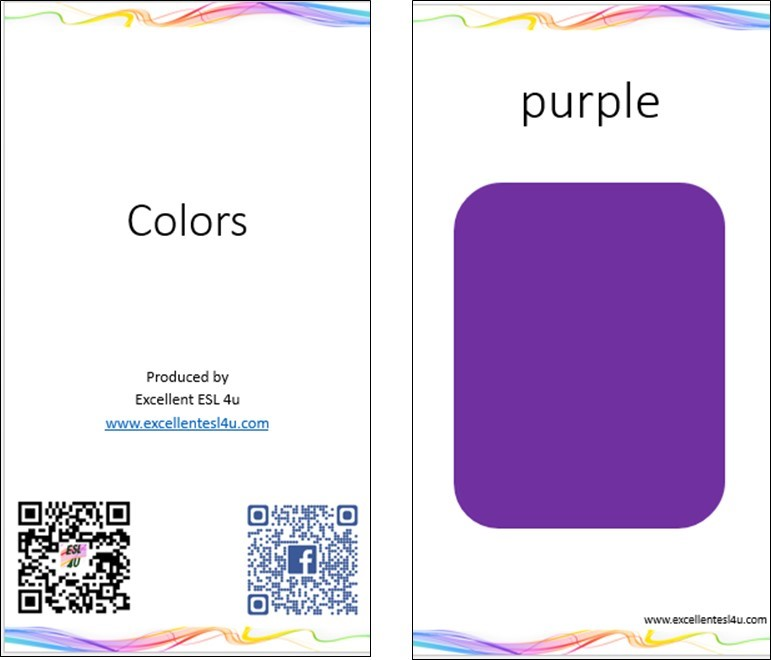 photograph about Printable Color Flashcards for Toddlers known as ESL Small children Colour Vocabulary